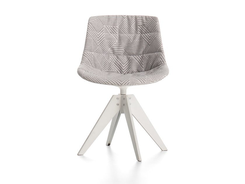 Swivel upholstered trestle-based fabric chair FLOW TEXTILE | Trestle-based chair by MDF Italia