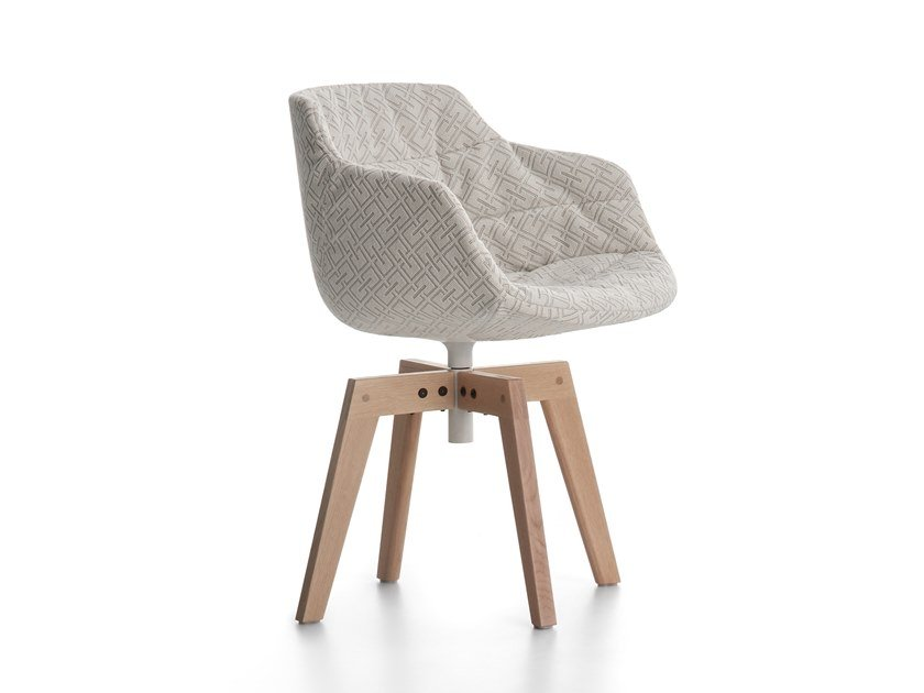 Swivel trestle-based fabric chair with armrests FLOW TEXTILE | Chair with armrests by MDF Italia