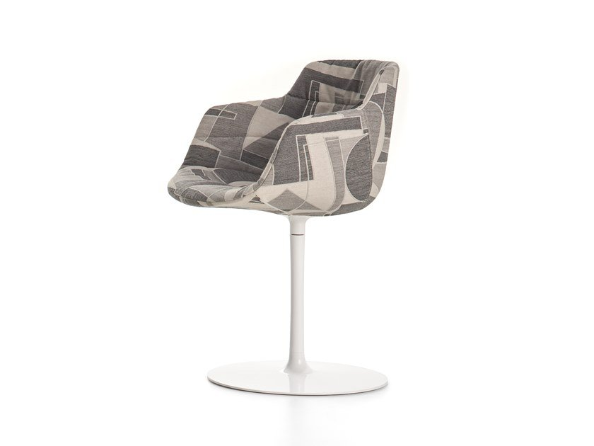 Swivel upholstered fabric chair with armrests FLOW TEXTILE   Swivel chair by MDF Italia