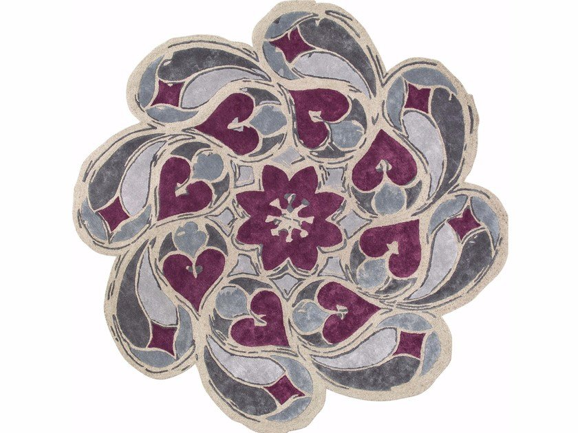 Patterned round silk rug ROSONE by Italy Dream Design