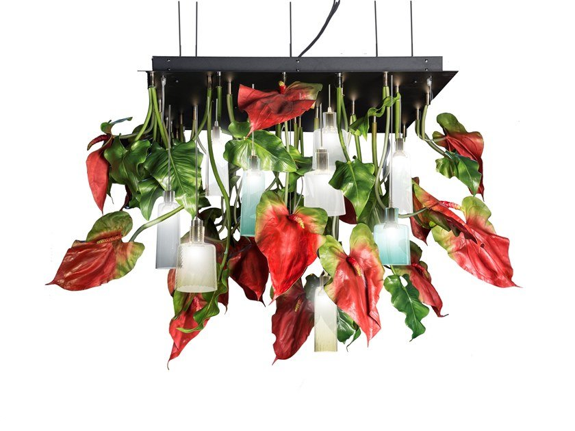 LED Murano glass ceiling lamp FLOWER POWER ANTHURIUM SQUARE by VGnewtrend