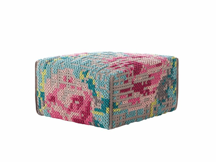 Upholstered wool pouf FLOWERS | Pouf by GAN