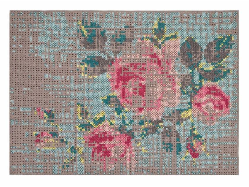 Wool rug with floral pattern FLOWERS | Rug by GAN