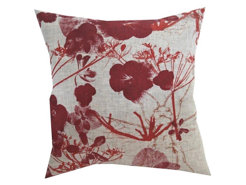 Square fabric cushion FLOWERY by Birgit Morgenstern Studios