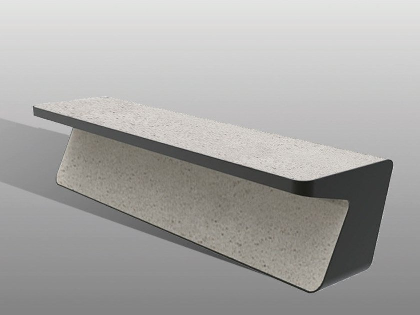 Backless reconstructed stone Bench FLUENS B by Manufatti Viscio