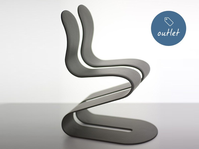 Sedia ergonomica imbottita impilabile in pelle FLUID RIBBON | Sedia in pelle by Lamberti Design