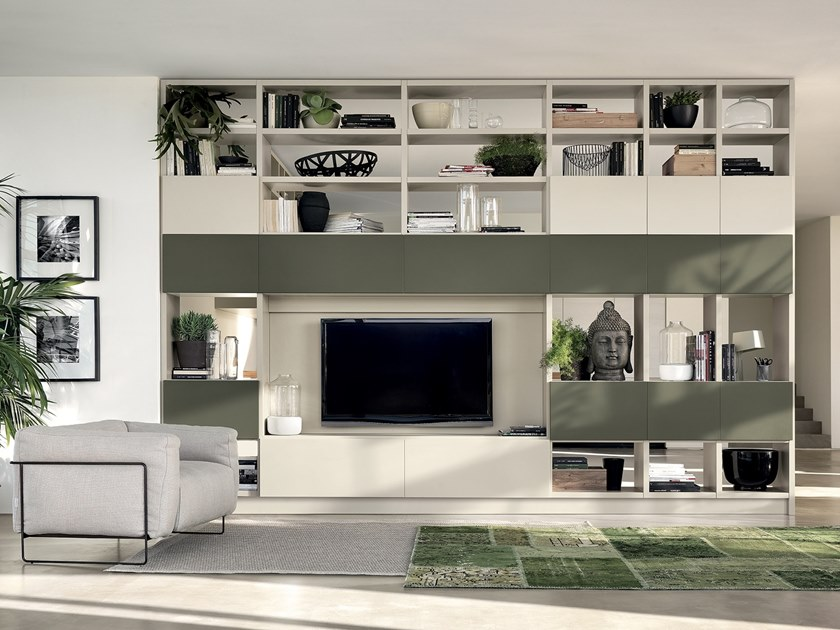 Sectional storage wall FLUIDA - Integrated kitchen module by Scavolini