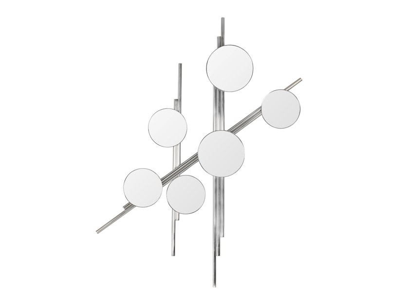 Round wall-mounted stainless steel mirror FLUTE   Stainless steel mirror by Green Apple