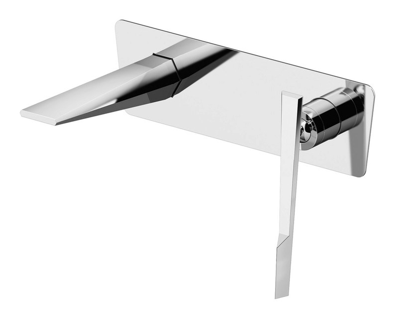 Wall-mounted washbasin mixer with plate FLY | Wall-mounted washbasin mixer by Gattoni Rubinetteria