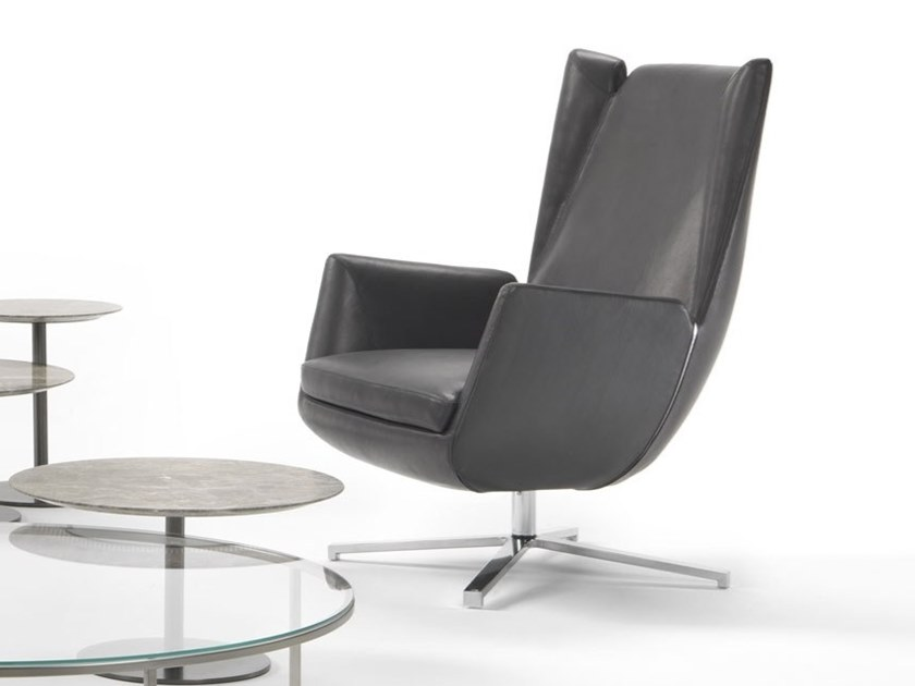 Swivel leather armchair with armrests FLY | Swivel armchair by Marelli