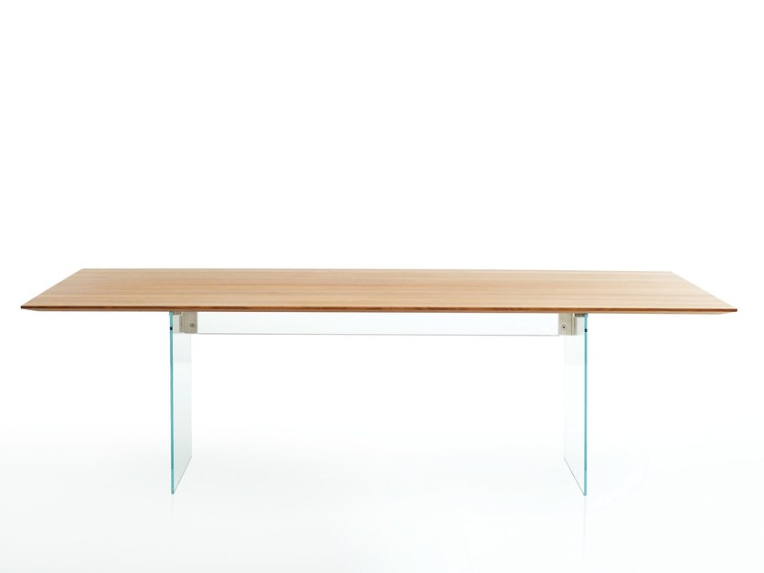Rectangular wood and glass dining table FLY by more
