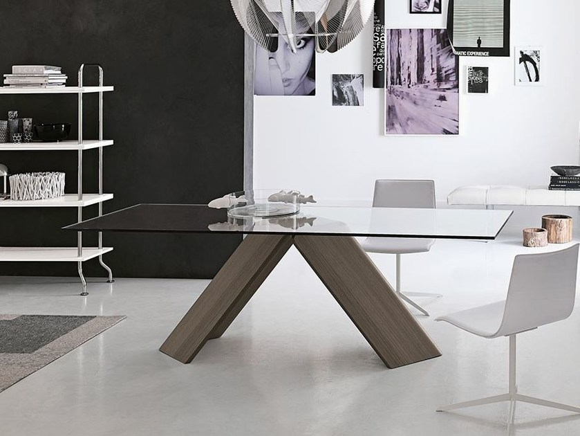 Rectangular wood and glass table FOIL by ALIVAR