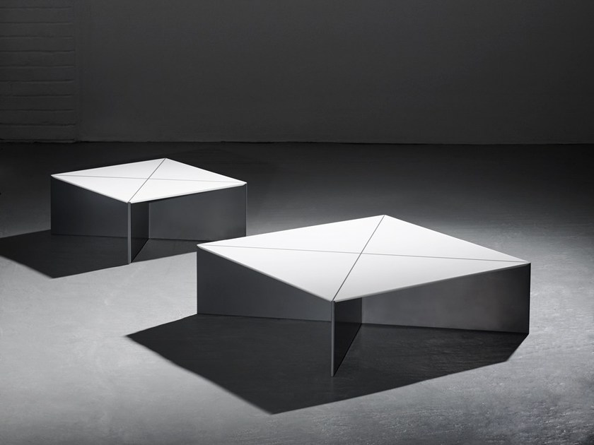 Low square Solid Surface® coffee table FOLD | Coffee table by Isomi
