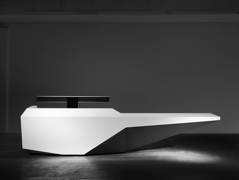 Modular Solid Surface Office reception desk FOLD | Reception desk by Isomi
