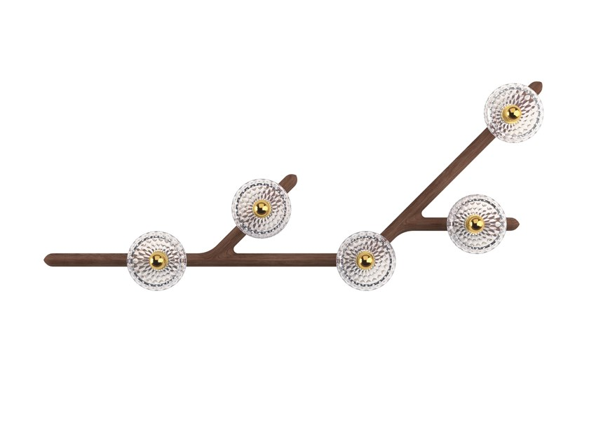 Wood and glass wall lamp / ceiling lamp FOLIA 5 LIGHTS - 45° by Saint-Louis