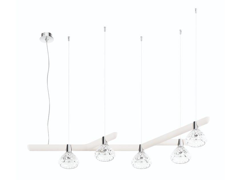 Direct light wood and glass pendant lamp FOLIA 5 LIGHTS - 45° by Saint-Louis