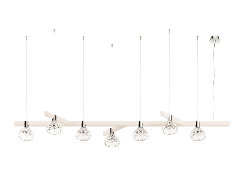 Direct light wood and glass pendant lamp FOLIA 7 LIGHTS - LINEAR by Saint-Louis