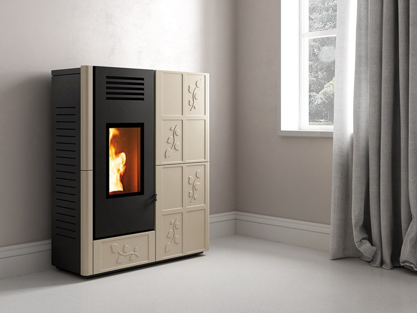 Pellet Class A+ wall-mounted faïence stove FOLIA by CAMINETTI MONTEGRAPPA