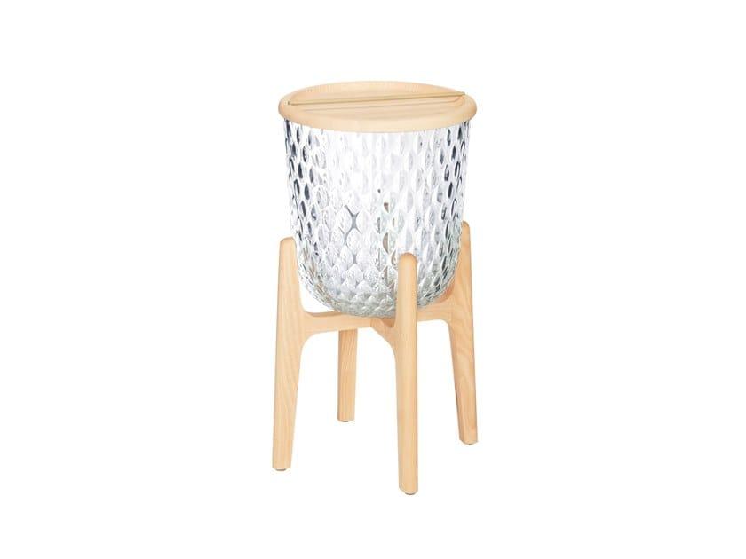 Tavolino rotondo in cristallo con vano contenitore FOLIA | Tavolino by Saint-Louis