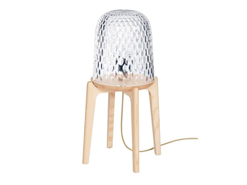 Lampada da tavolo in cristallo e frassino FOLIA | Lampada da tavolo by Saint-Louis
