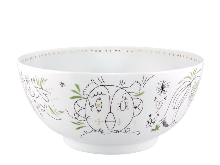 Porcelain salad bowl FOLKFUNKI - GREEN | Salad bowl by Vista Alegre