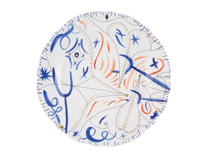 Porcelain serving plate FOLKIFUNKI - BLUE | Serving plate by Vista Alegre