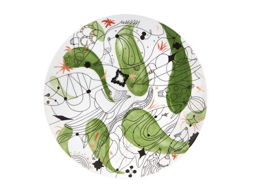 Porcelain serving plate FOLKIFUNKI - GREEN | Serving plate by Vista Alegre