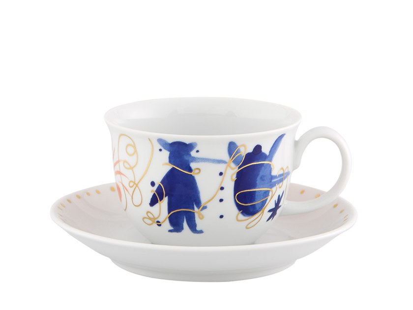 Porcelain tea cup with saucer FOLKIFUNKI   Tea cup by Vista Alegre