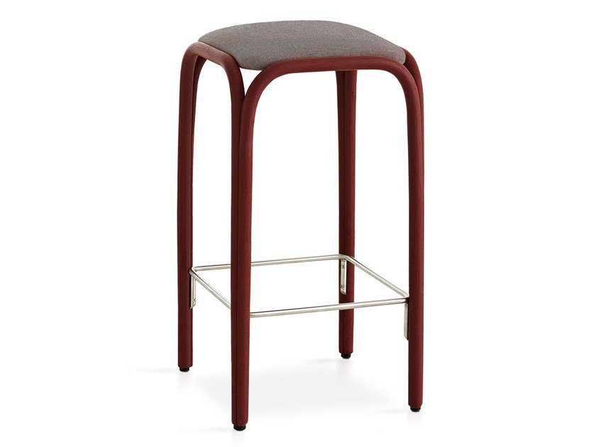 High rattan stool with integrated cushion FONTAL   High stool by EXPORMIM