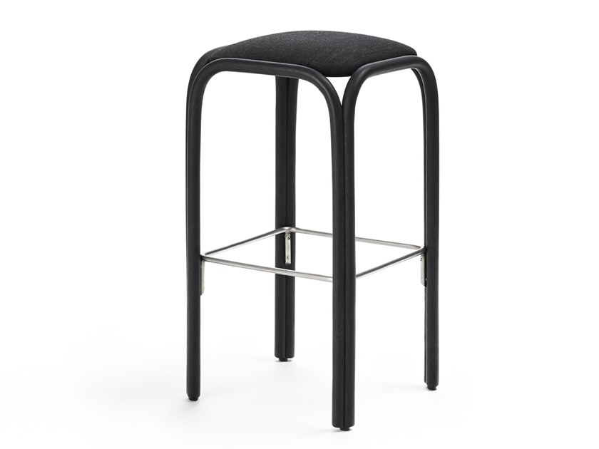 Contemporary style high wooden stool with integrated cushion with footrest FONTAL   High stool by EXPORMIM