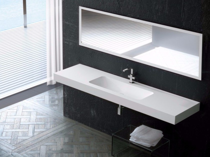 Rectangular single wall-mounted Silexpol® washbasin FONTANA IECILG by Fiora