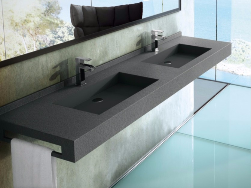 Rectangular wall-mounted Silexpol® washbasin with towel rail FONTANA | Double washbasin by Fiora