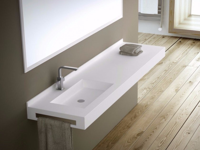Rectangular custom Silexpol® washbasin with towel rail FONTANA | Single washbasin by Fiora