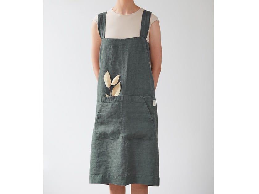 Linen kitchen apron FOREST GREEN | Kitchen apron by Linen Tales