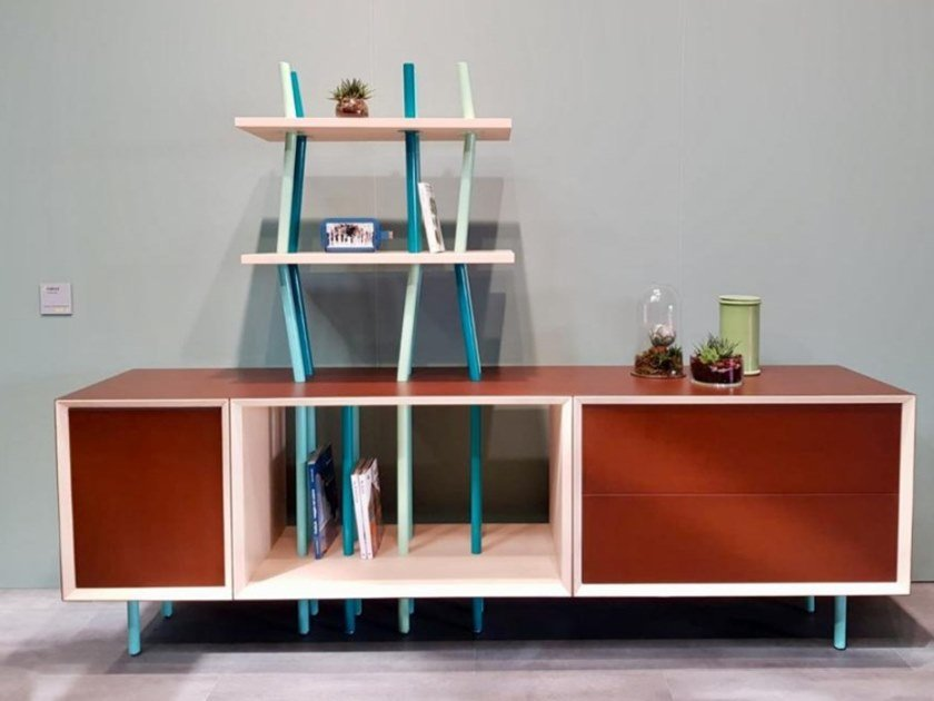 Steel and wood bookcase / sideboard FOREST by TrackDesign