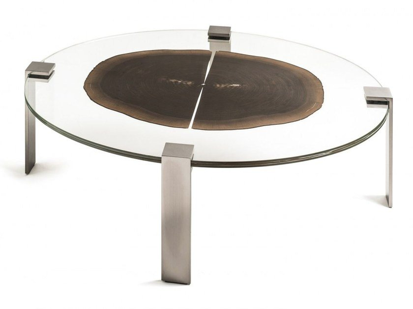 Oval wood and glass coffee table FORESTA | Oval coffee table by VGnewtrend