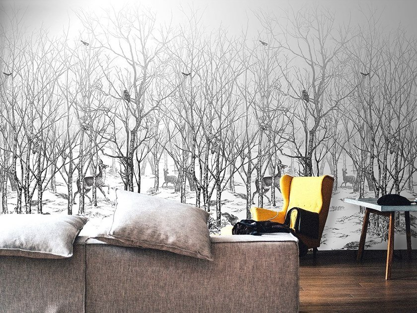 Panoramic landscape non-woven paper wallpaper FORET ENCHANTEE by Isidore Leroy