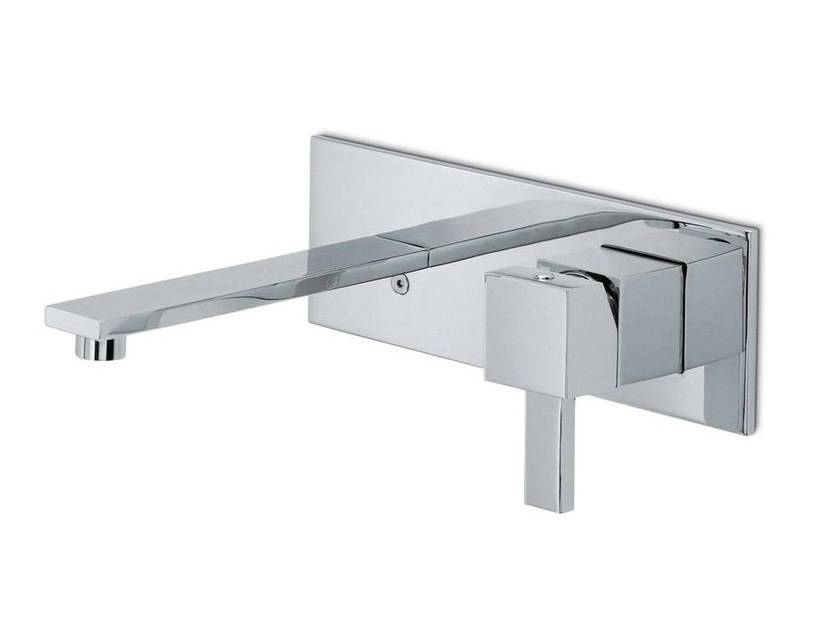 Wall-mounted washbasin mixer with plate without waste FORMA | Wall-mounted washbasin mixer by newform