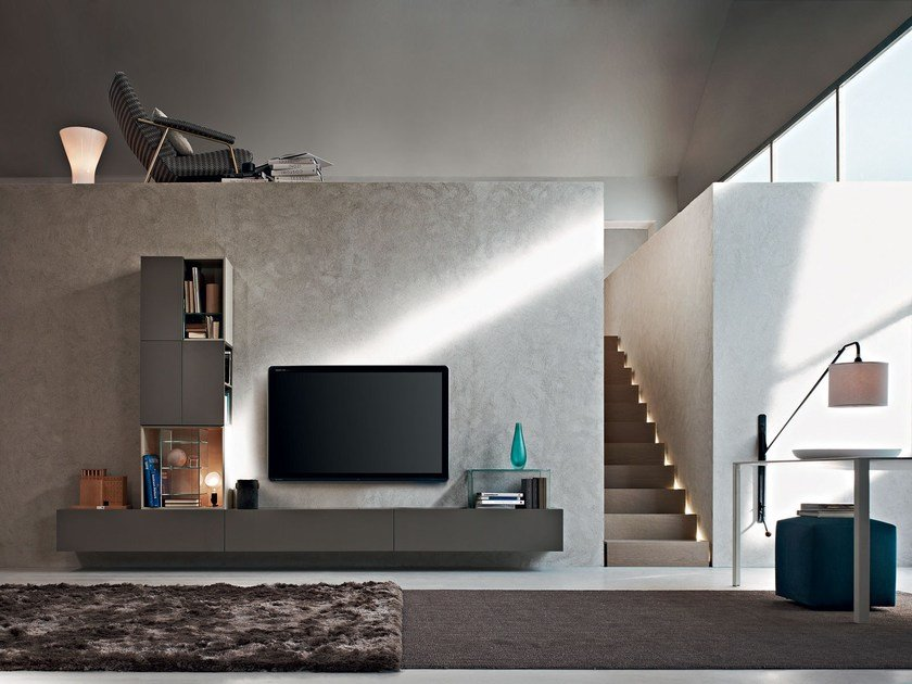 Sectional wall-mounted TV wall system FORTEPIANO | Sectional storage wall by Molteni&C