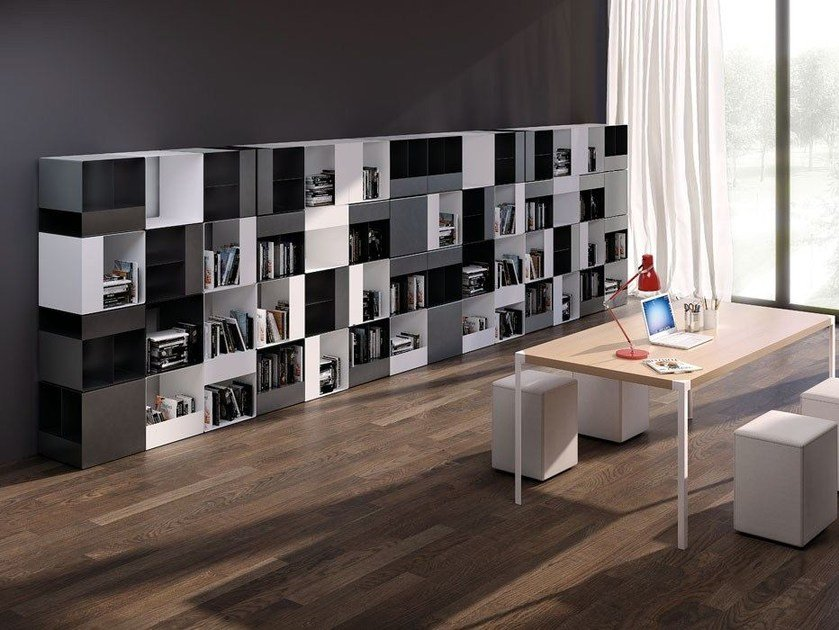Open divider modular steel bookcase FORTY by iCarraro
