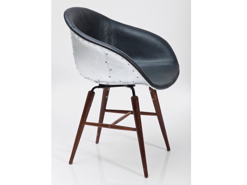 Tanned leather chair FORUM SOHO BLACK by KARE-DESIGN