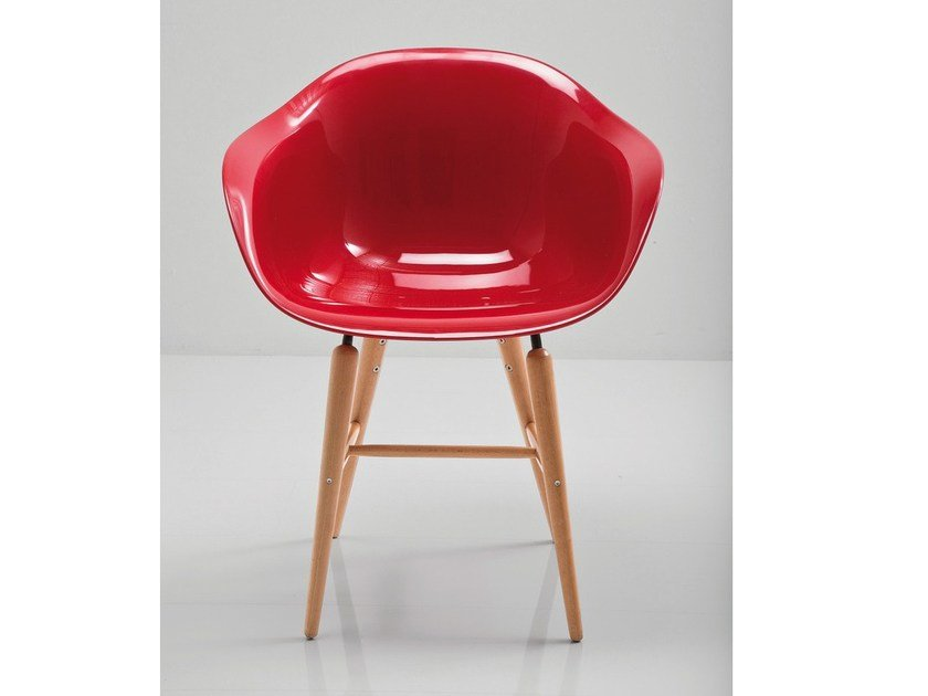 ABS chair FORUM WOOD RED by KARE-DESIGN