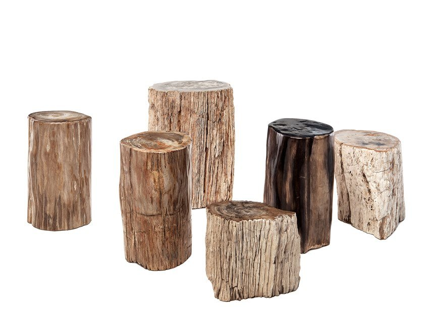 Petrified wood garden side table FOSSIL | Coffee table by Il Giardino di Legno