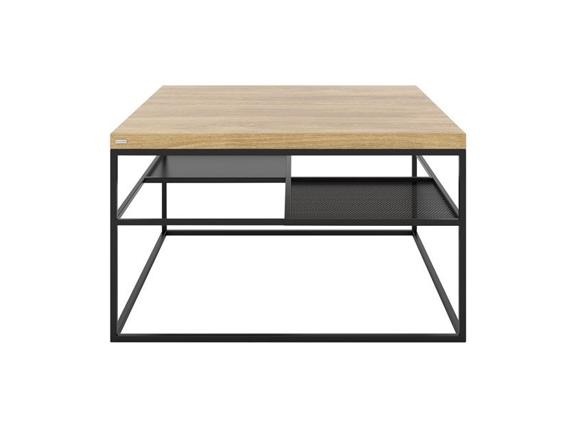 Square steel and wood coffee table with integrated magazine rack FOURSQUARE by take me HOME