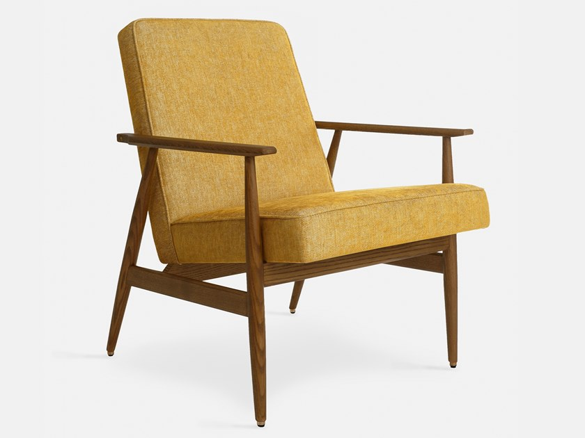 Chenille easy chair with armrests FOX LOFT | Easy chair by 366 Concept s.c.