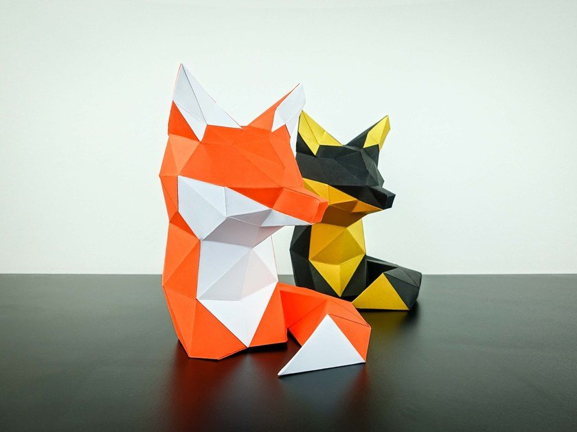 Paper sculpture FOX by Papertrophy