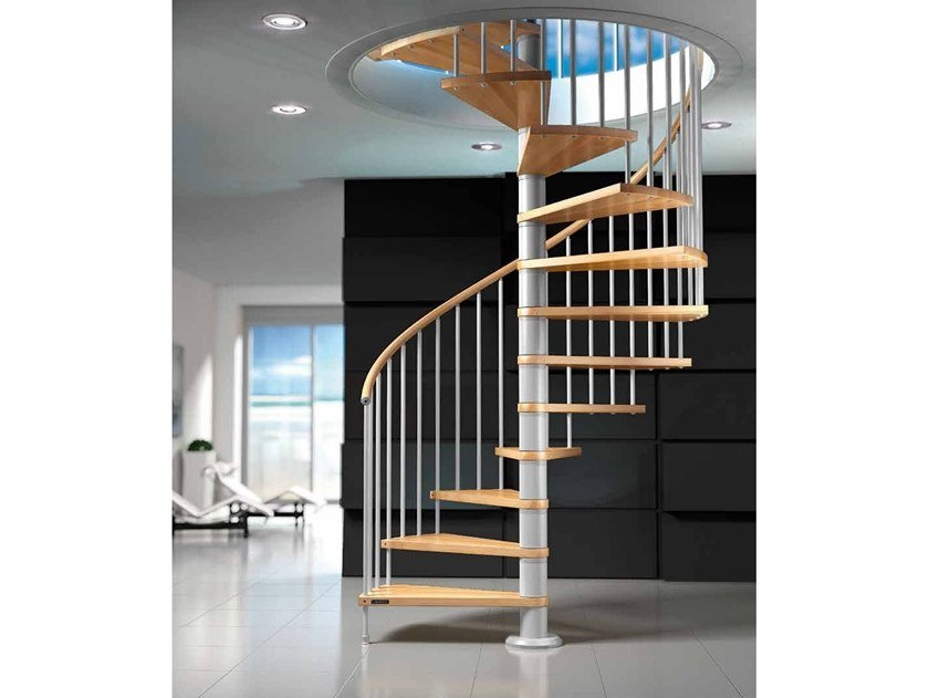 Beech Spiral staircase FOX T by MOBIROLO