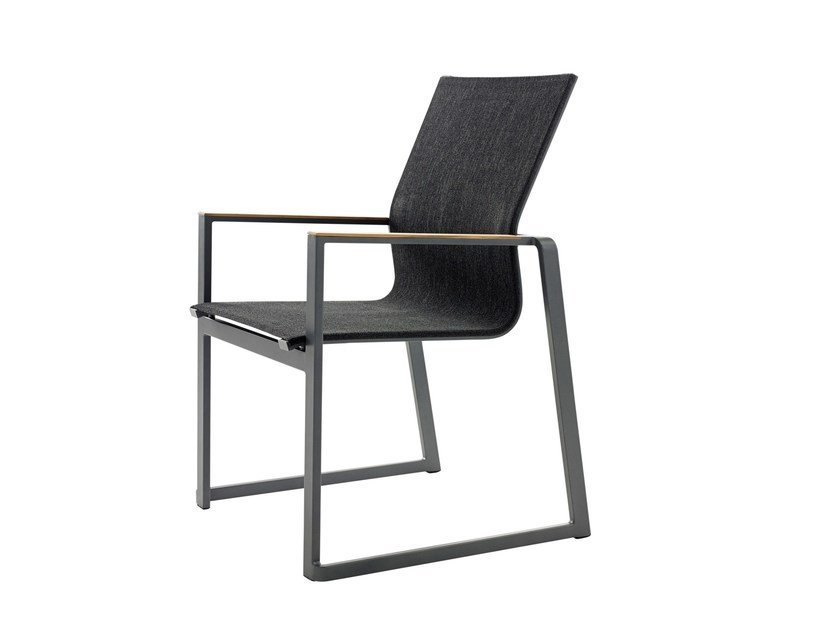 Sled base stackable chair with armrests FOXX | Stackable chair by solpuri