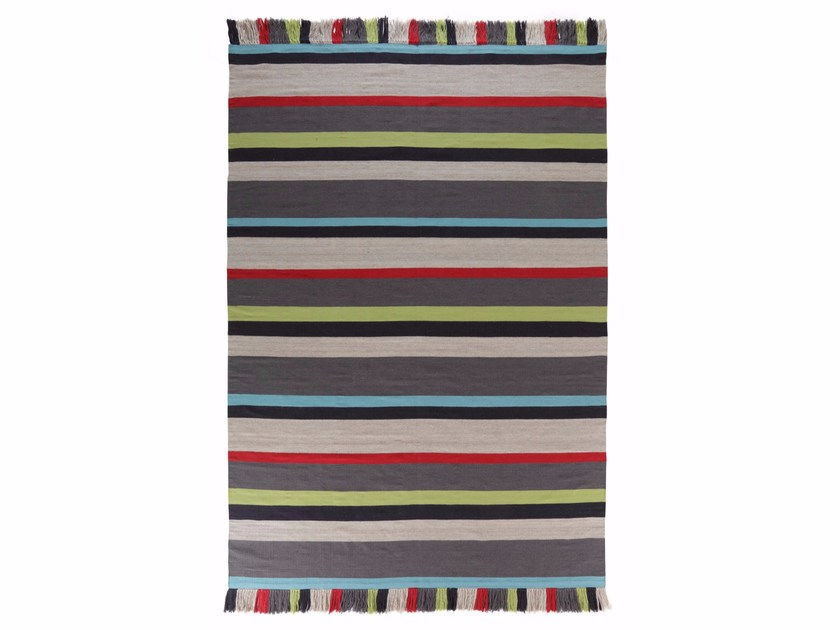 Rectangular striped wool rug FOXY by miinu