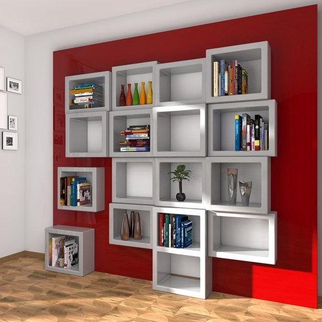 Wall-mounted sectional Adamantx® bookcase FRA011 by ZAD ITALY